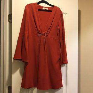Halston Heritage bell sleeve rust orange dress
